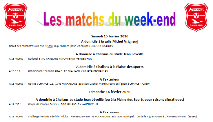 Planning des matchs du week-end